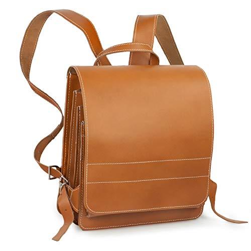 Sehr Großer Lederrucksack/Lehrerrucksack Größe XL aus Leder, für Damen und Herren, Cognac-Braun, Modell 670