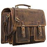 STILORD 'Anton' Aktentasche Leder XL Vintage Lehrertasche mit Laptopfach 15,6 Zoll große Ledertasche zum Umhängen...